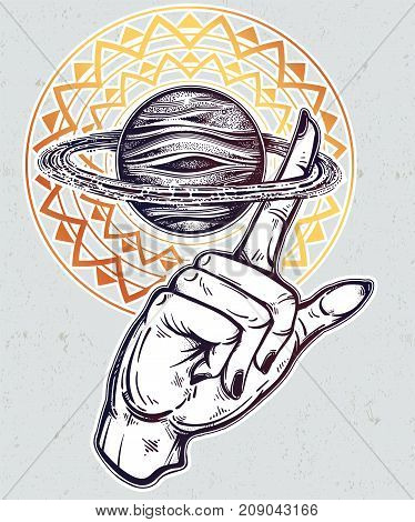 Flash Astronomy. Human hand, finger spinning Saturn space planet, celestial drawing. Dotwork ink tattoo vintage design. Vector illustration isolated. Astrology, alchemy, magic, nature symbol art.