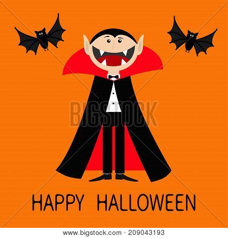 Happy Halloween. Count Dracula wearing black and red cape. Cute cartoon vampire character with big open mouth tongue fangs. Two flying bat animal. Flat design. Orange background. Vector illustration