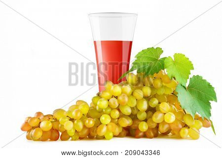 Grape juice in glass and bunch ripe grapes isolated on white background. Clipping path. Free space for text.