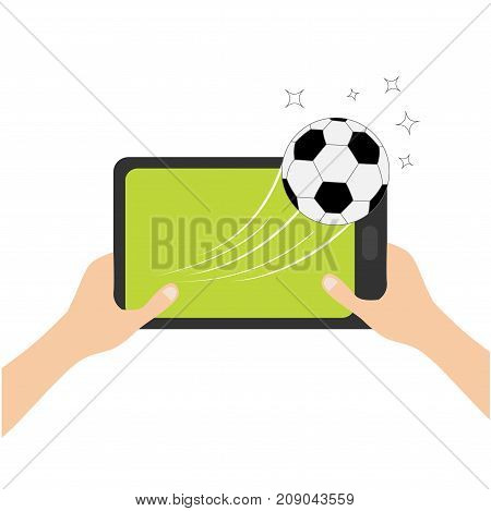 Two hands holding genering tablet PC gadget. Male female teen hand and Tab with blank screen. Soccer ball flying from touch screen. Stars. Green grass field. Flat design. White background. Vector