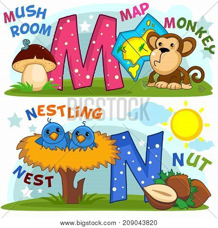 Colored cartoon English alphabet with letters M and N for children, with pictures to these letters with a mushroom, card, monkey, nest, chicks, sun and nut.