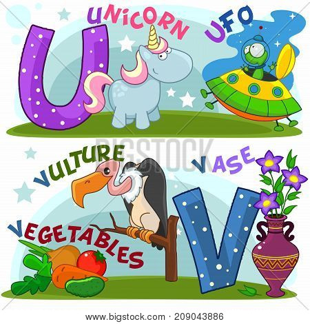 Colored cartoon English alphabet with U and V letters for children, with pictures of these letters with a unicorn, UFO, vulture, vegetables and a vase.