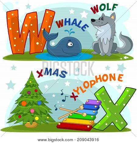 Colored cartoon English alphabet with letters W and X for children, with pictures to these letters with a whale, a wolf, a Christmas and a xylophone.
