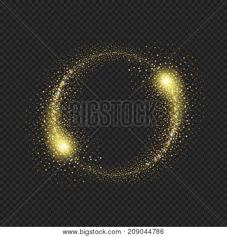 Gold glittering star dust circle on black background.