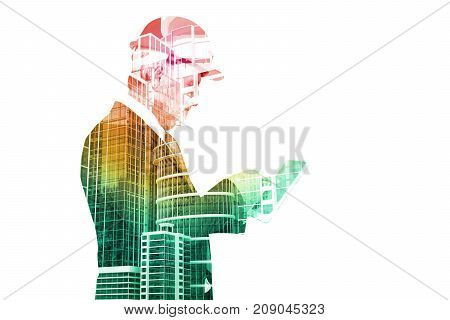 Double Exposure Of Senior Executive Businessman In Suit With City Building Construction Site