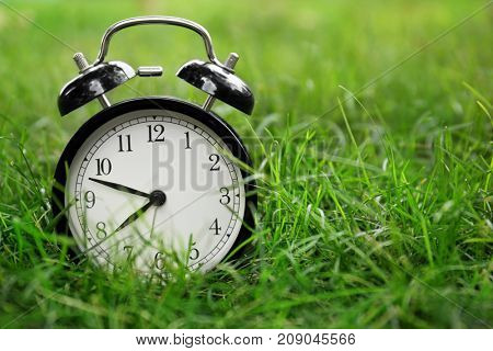 Alarm clock on green grass. Morning routine concept