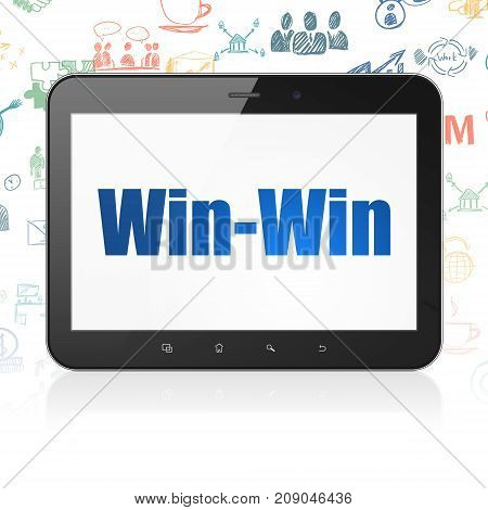 Finance concept: Tablet Computer with  blue text Win-Win on display,  Hand Drawn Business Icons background, 3D rendering
