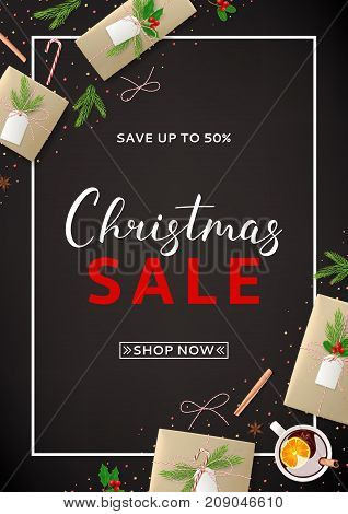 Christmas Sale Flyer with Festive Decoration. Beautiful Greeting Card with Lettering. Top View on Composition with Paper Gift Boxes for Happy New Year. Vector Illustration with Discount Offer.