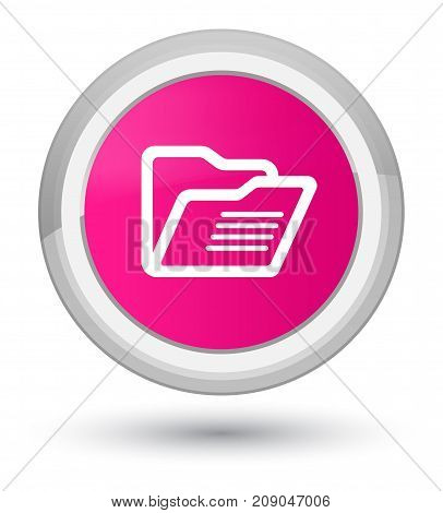 Folder Icon Prime Pink Round Button