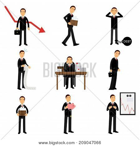 Failed businessman character set, business and financial failure, bankruptcy, economic crisis, unemployment vector Illustrations isolated on a white background
