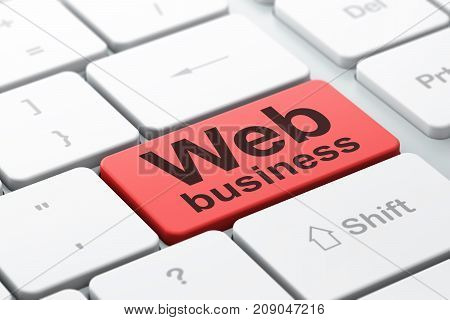 Web development concept: computer keyboard with word Web Business, selected focus on enter button background, 3D rendering
