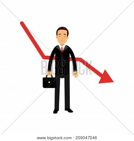 Stressed businessman character standing next to red graph going down, bad sales, business and financial failure, economic crisis vector Illustration isolated on a white background