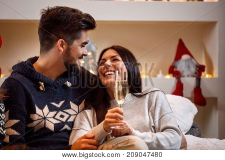 romantic love couple toast for Christmas holiday