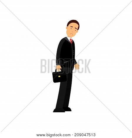 Frustrated businessman character standing with briefcase, business and financial failure, economic crisis vector Illustration isolated on a white background