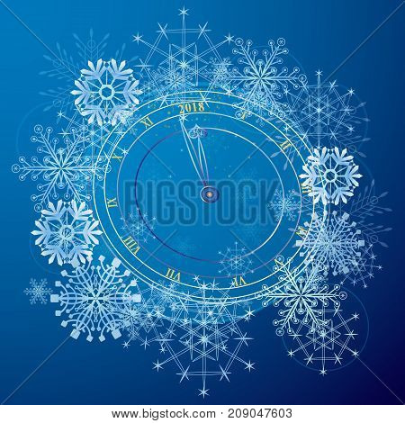 vector abstract background with clock in blue and white colors New Year 2018 (EPS 10)