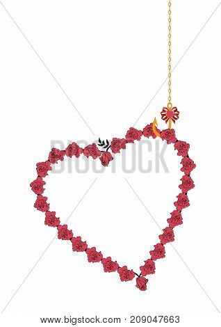 valentine vector frame with roses as heart and hook and chain