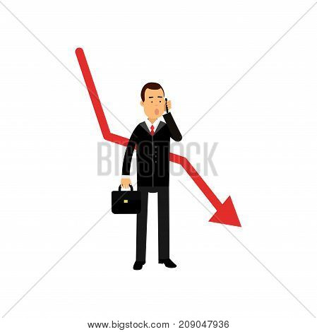 Stressed businessman character talking on the phone against red graph going down, business and financial failure, bad sales, economic crisis vector Illustration isolated on a white background
