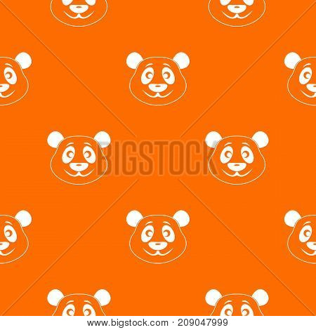 Panda pattern repeat seamless in orange color for any design. Vector geometric illustration