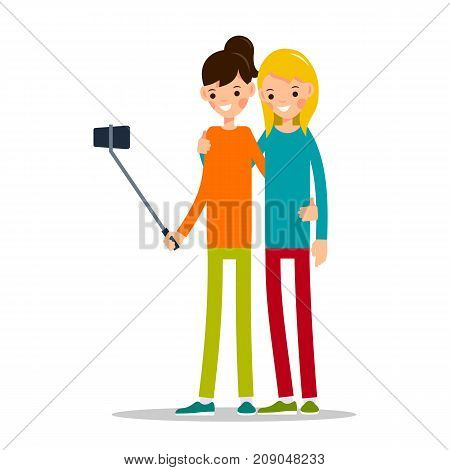 Woman do selfie. Friends do joint self-portrait photograph. Happy smiling young women taking selfie photo. Illustration in flat style. Isolated