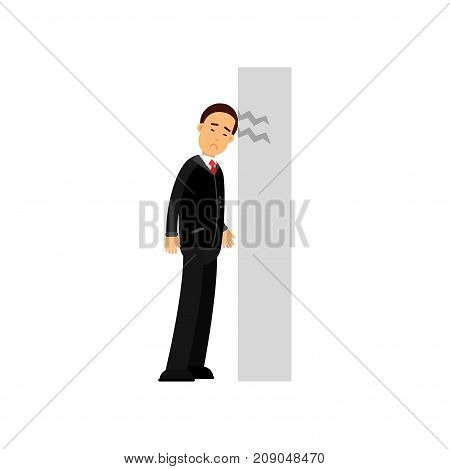 Stressed businessman character banging his head against wall, business and financial failure, economic crisis vector Illustration isolated on a white background