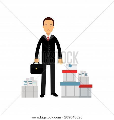 Frustrated businessman character standing among paper documents, overloaded office worker, business and financial failure vector Illustration isolated on a white background