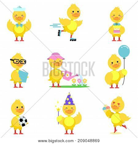 Cute yellow duckling characters set, funny duck in different poses and situations cartoon vector Illustrations on a white background