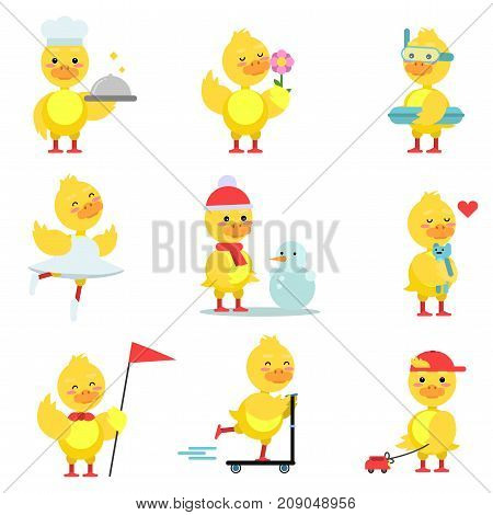 Funny duckling characters set, cute yellow duck in different poses and situations cartoon vector Illustrations on a white background