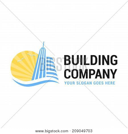 Illustration of buildings sun and seagulls. Vector logo template for real estate or building company. Creative logotype. EPS10. Can be used for real estate company in resort towns. Icon concept. Architecture.
