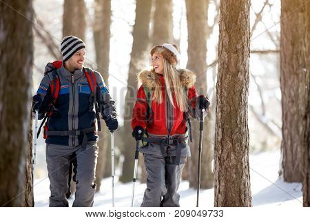 Youngsters hiking in nature