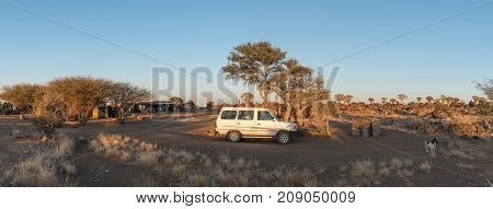 GARAS NAMIBIA - JUNE 14 2017: Panoramic view of the rest camp and the quiver tree forest at Garas near Keetmanshoop on the B1-road to Mariental at sunrise