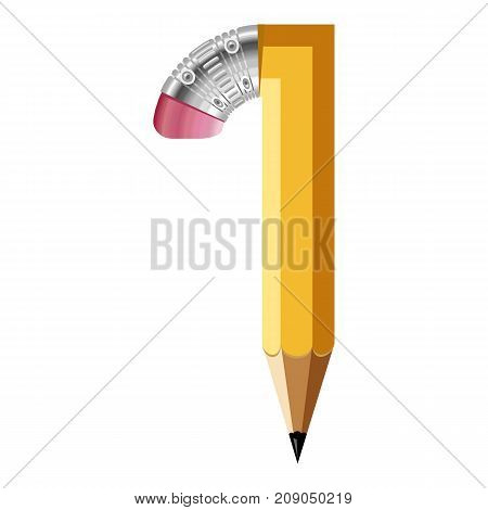 Number one pencil icon. Cartoon illustration of number one pencil vector icon for web
