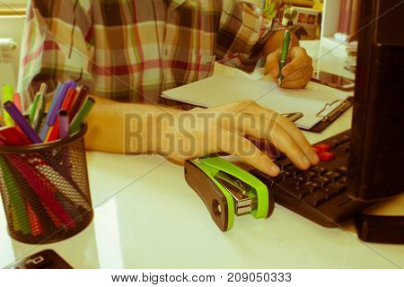 Hands of accountant Businessman with calculator and pen. Business male Analyzing Statistics Financial business Concept - Retro color