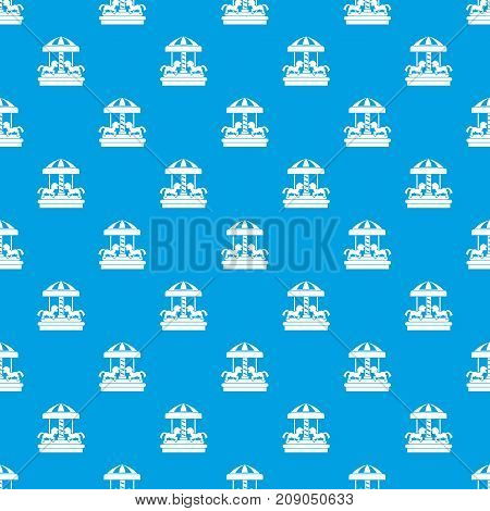 Carousel with horses pattern repeat seamless in blue color for any design. Vector geometric illustration