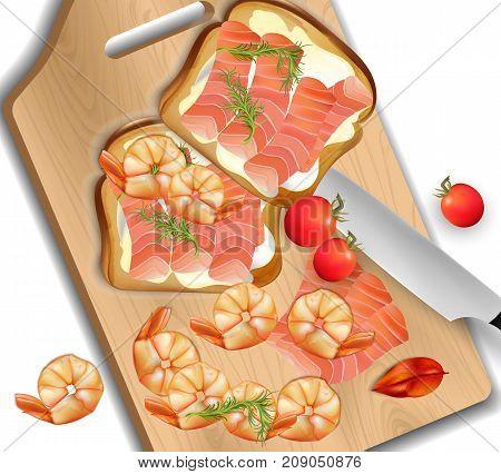 Salmon Sandwich Realistic Vector. Fresh Sandwich Detailed Illustrations