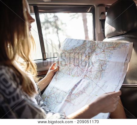 Friends checking the map for directions