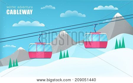 Pink cable cars moving above the ground against winter landscape with ski slope covered with snow, trees and mountains on background. Cableway or aerial lift. Colorful cartoon vector illustration