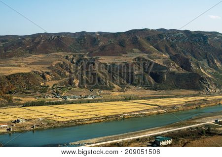 North Korea opposite the Chinese city of Tumen