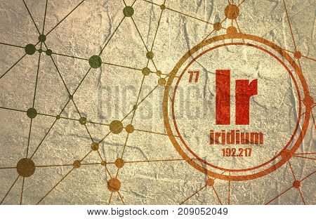 Iridium chemical element. Sign with atomic number and atomic weight. Chemical element of periodic table. Molecule And Communication Background. Connected lines with dots. Distress grunge texture