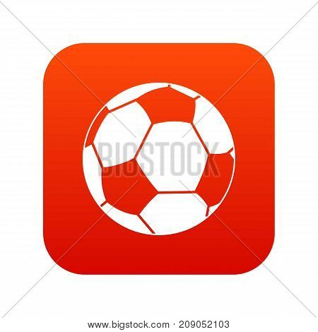 Football ball icon digital red for any design isolated on white vector illustration