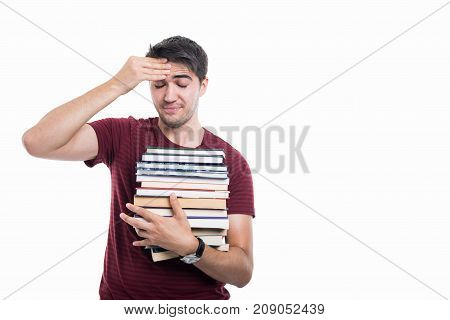 Student Posing Holding Pile Of Books Poking His Head