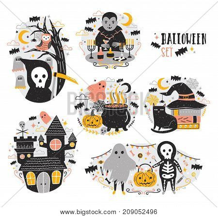 Bundle of Halloween scenes with funny and spooky cartoon characters - vampire, ghost, skeleton, grim reaper, pumpkin lantern, bats. Creepy and frightening fairytale. Festive vector illustration