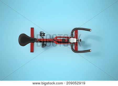Sports Bikes Home From Above Red 3D Render On Blue Background
