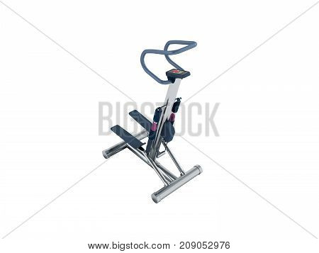 Sports Trainers For Foot Stepper Blue Perspective 3D Render On White Background No Shadow