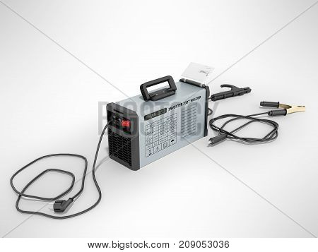 Inverter Welding Machine With Cable For Welding Electrodes With A Blue Rear 3D Render On A Gray Back