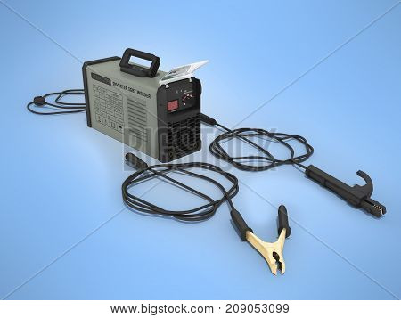Inverter Welding Machine With Electronic Amp Adjustment Table With Welding Cables 3D Rendering On Bl