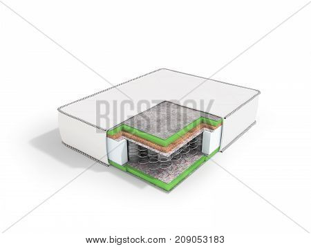 Modern Orthopedic Mattress White Dismantled In A Section With Springs 3D Rendering On A White Backgr