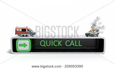 Concept Of Quick Call Of Ambulance 3D Render On White