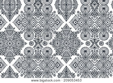 Black and white ethnic tribal seamless pattern with hand drawn elements. Aztec geometric print. Hipster background.