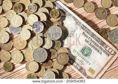 coins and dollars . Photo of abstract background