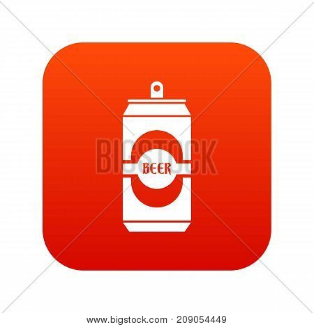 Aluminum can icon digital red for any design isolated on white vector illustration